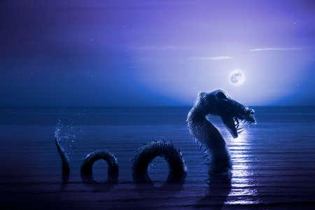 合成写真: 夜のネス湖の怪獣