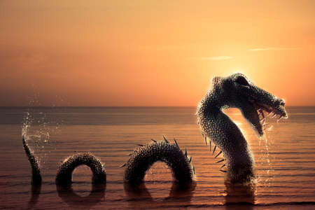 dragon swim: Photo composite of Loch Ness Monster