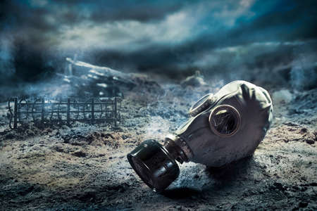 aftermath: Photo Composite: Gas Mask in the aftermath of war Stock Photo