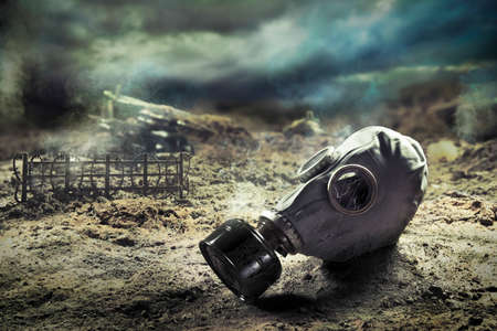 Photo Composite: Gas Mask in the aftermath of war Stock Photo