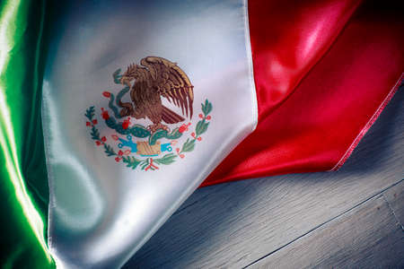 mexico culture: Mexican Flag with dramatic lighting, Independence day, cinco de mayo celebration Stock Photo