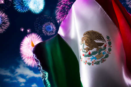 history: Mexican Flag with dramatic lighting, Independence day, cinco de mayo celebration Stock Photo