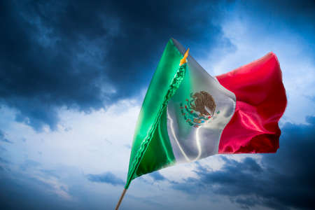 freedom: Mexican Flag with dramatic lighting, Independence day, cinco de mayo celebration Stock Photo