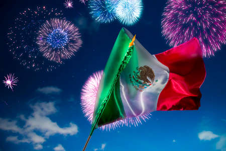 independence day: Mexican Flag with dramatic lighting, Independence day, cinco de mayo celebration Stock Photo