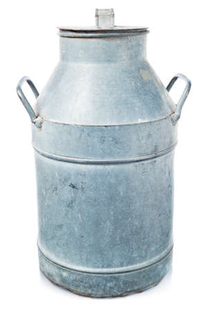 Old milk container on white photo