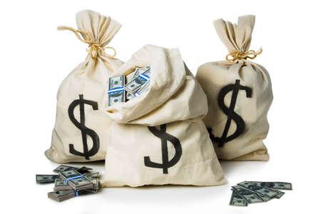 hombre millonario: bolsas llenas de un montón de dinero