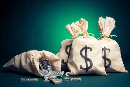 lots of money inside bags Imagens