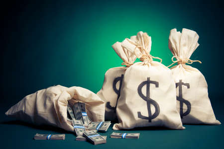 Un montón de dinero en bolsas Foto de archivo - 28047165