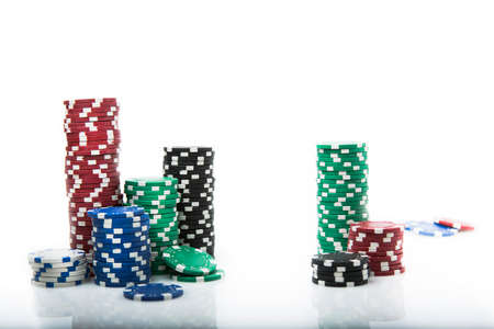 wager: Poker Chips on white background