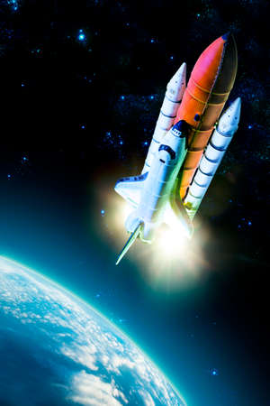 space background: Space shuttle taking off on a mission