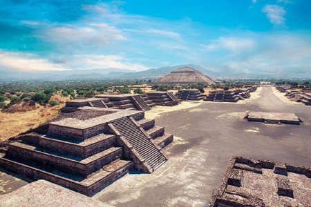 Teotihuacan, Avenue of the Dead and the Pyramid of the sun photo