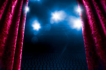 red stage curtain: Theater curtain with dramatic lighting and lens flare