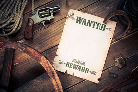 old west: Empty  Blank wanted sign with old west items