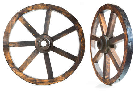 wood wheels isolated on white photo