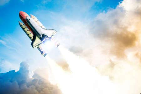 cohetes: El transbordador espacial despegando en una misi�n Foto de archivo