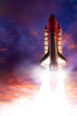 launch vehicle: Space shuttle taking off on a mission