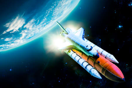 future space: Space shuttle taking off on a mission