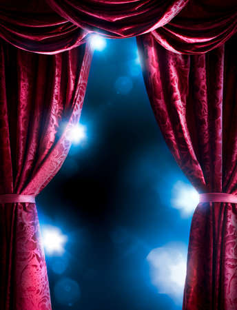 light play: Theater curtain with dramatic lighting and lens flare
