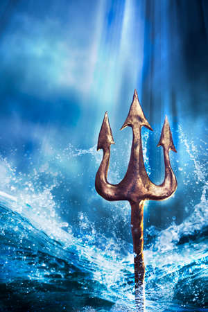 ancient atlantis: Poseidons trident emerging from the sea, Photo composite