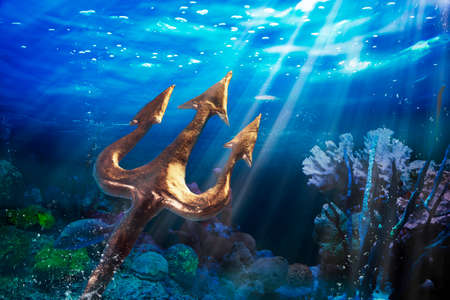 Poseidon's trident under the sea, Photo composite Stok Fotoğraf - 28047509