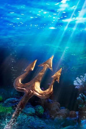 ancient atlantis: Poseidons trident under the sea, Photo composite