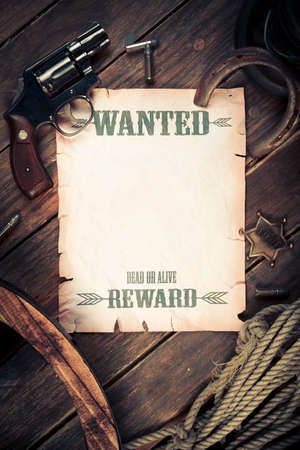 silver horseshoe: old western background with wanted poster Stock Photo