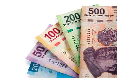 Mexikanische Pesos, Rechnungen von 20, 50, 100, 200, 500 Standard-Bild - 28047526