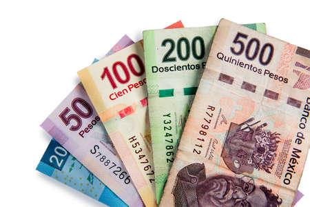 Mexican pesos, bills of 20, 50, 100, 200, 500 photo