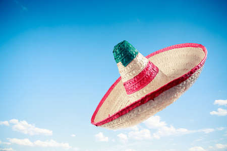 Mexican sombrero in a blue sky