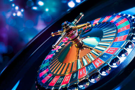 wheel spin: high contrast image of casino roulette