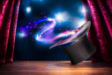 show: photo composite of a magic hat on a stage