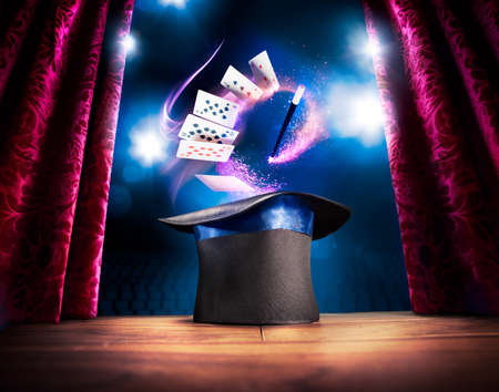 magic hat: photo composite of a magic hat on a stage