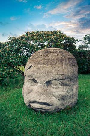 mesoamerica: Olmec Colossal Head in the ancient city of La Venta Stock Photo