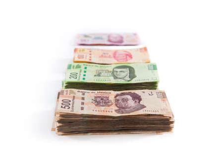 pesos: Mexican pesos, bills of 50, 100, 200, 500 Stock Photo