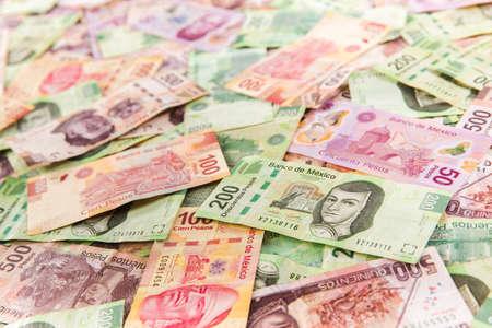 Mexican pesos, bills of 50, 100, 200, 500 Banco de Imagens