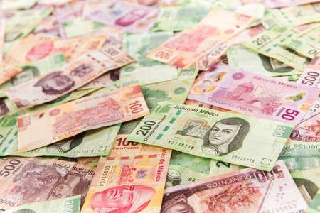 Mexican pesos, bills of 50, 100, 200, 500 Foto de archivo