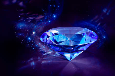 luxurious blue diamond shining on a black background