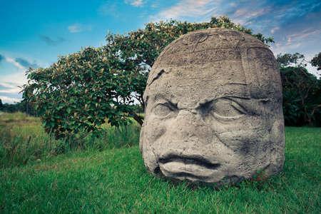 la: Olmec Colossal Head in the ancient city of La Venta Stock Photo