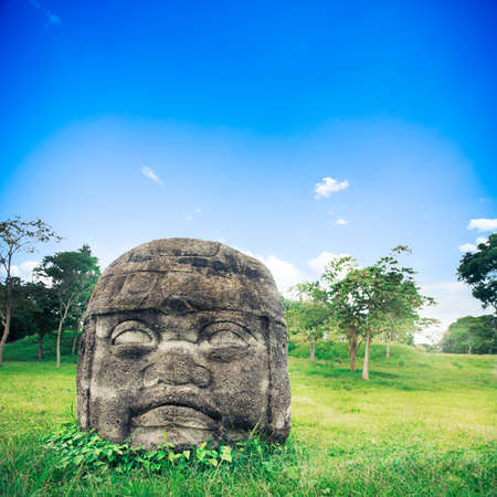 colossal: Olmec Colossal Head in the ancient city of La Venta Stock Photo