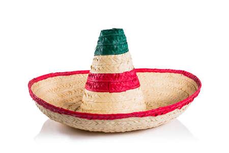 白い背景でメキシコのソンブレロ 写真素材
