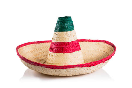 mexican culture: Mexican sombrero in white background Stock Photo