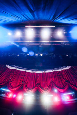 broadway stage: Theater curtain and stage with dramatic lighting