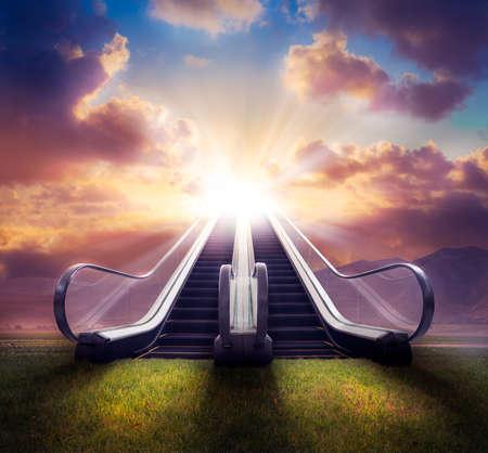Stairway to heaven  Foto composiet met hoog contrast Stockfoto