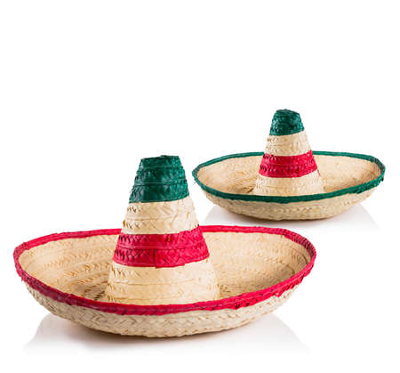 Mexican sombreros in white background