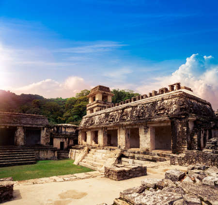Ruins of Palenque, Maya city in Chiapas, Mexico Stock Photo - 44405643