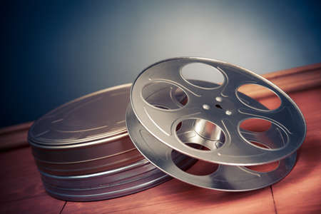 objects: movie industry objects on a grey background