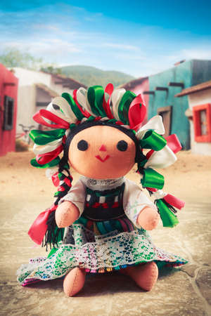 mexican dress: Mexican rag doll in a traditional dress