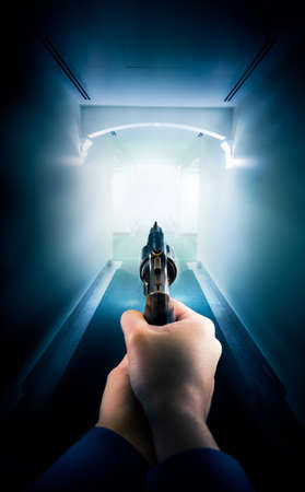 police man: Police in a hallway holding a gun  dramatic lighting