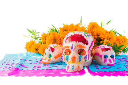 sugar skulls used for dia de los muertos celebration isolated on white with cempasuchil flowers Stock Photo