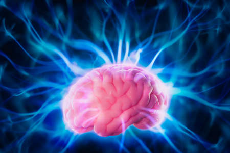 high contrast image, mind power concept with human brain and light rays